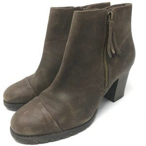 Clarks Distressed Double Zip Ankle Boots Size 10